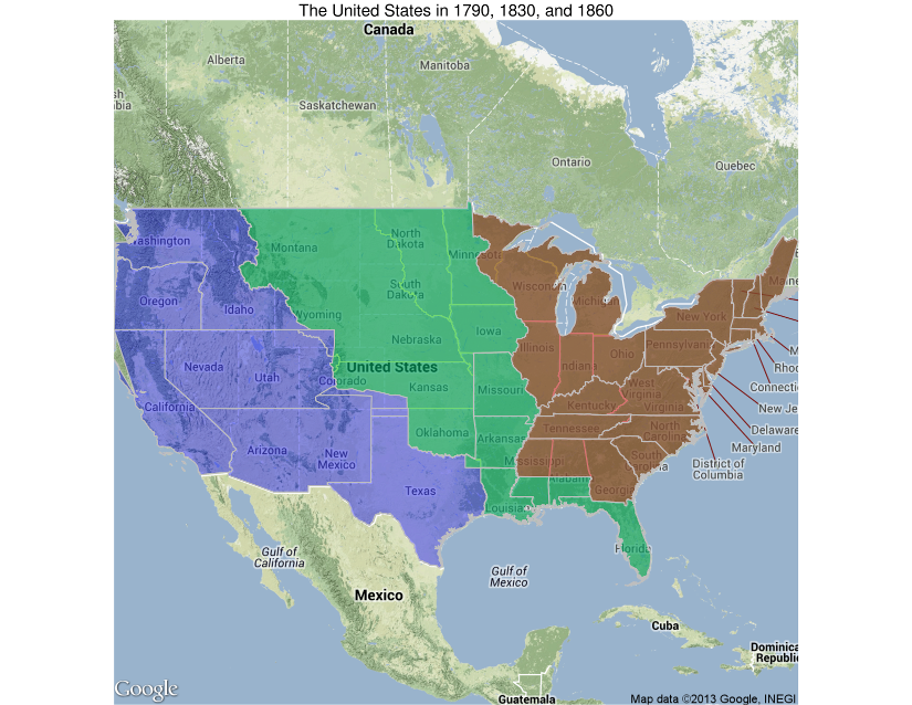 Shapefiles Of Historic US State Boundaries For Use In R The - Us state maps in r