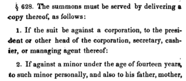 An excerpt from the 1850 New York code of civil procedure.