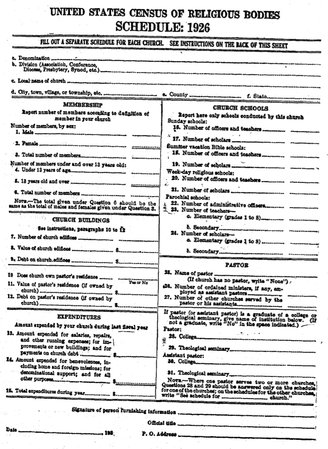 Form from the 1926 Census of Religious Bodies.