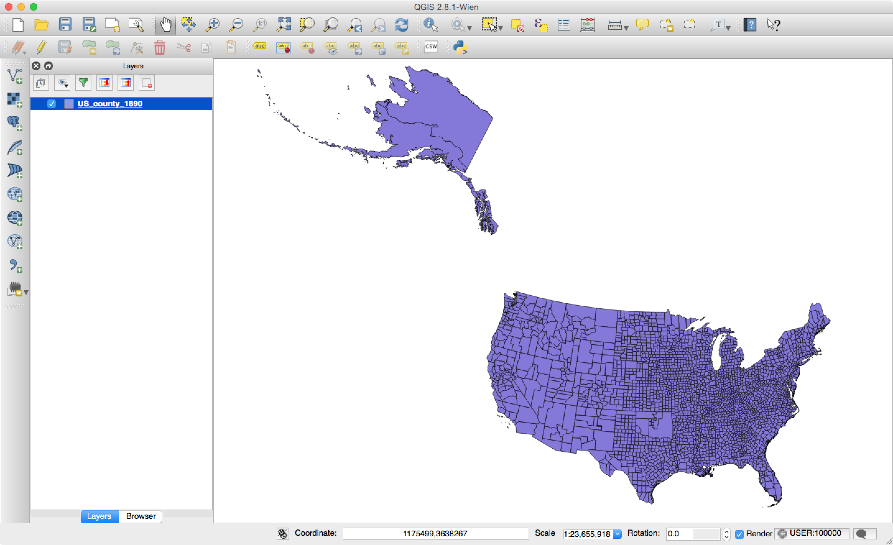 Introduction To QGIS - Us counties coordinates